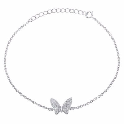 Evoke Rhodium-Plated Crystal Butterfly Bracelet