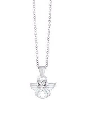 Children's Sterling Silver Crystal Angel Pendant 14