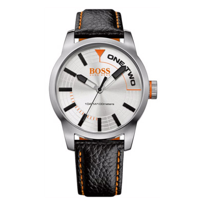 Hugo Boss Orange- Steel and Black Leather Watch