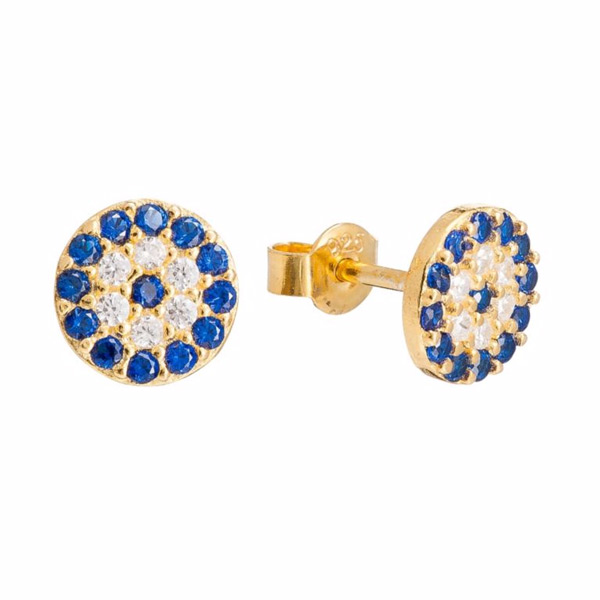 Gaia Dreams Gold-Plated Blue & Clear Crystal Stud Earrings