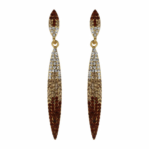 Mikey Gold Tone Graduated Crystal Earrings