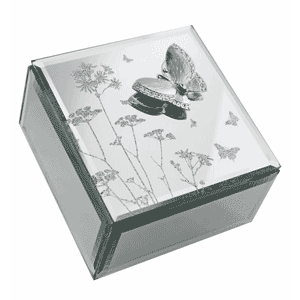 Glass Butterfly & Flowers Jewellery Box