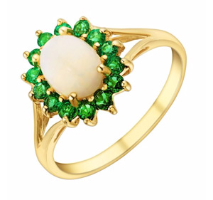 9ct Yellow Gold Opal & Created Emerald Ring