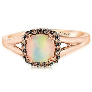 14ct Strawberry Gold Chocolate Opal & Chocolate Diamond Ring