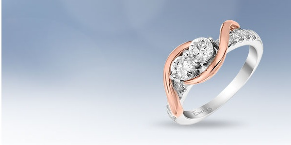 14ct White & Rose Gold Two Stone rings
