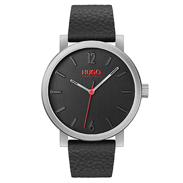HUGO Rase Men's Black Leather Strap Watch - Shop now