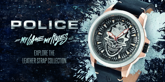 Shop Police Leather Strap Watches