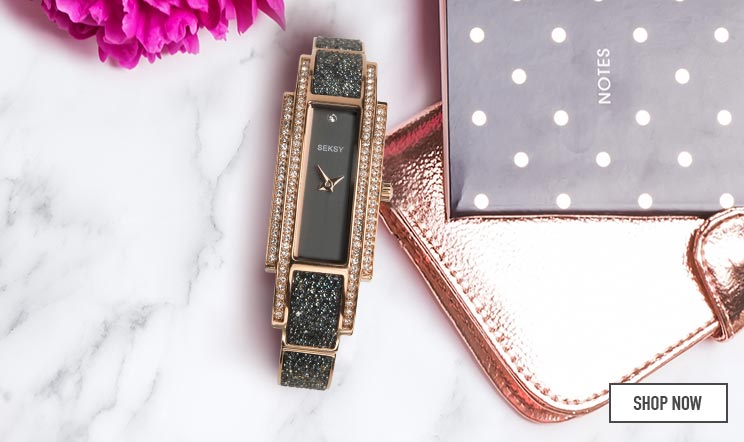 Seksy Rocks Ladies' Black & Rose Gold Bracelet Strap Watch - Shop now