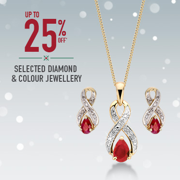 Shop 25% off selected diamond and colour jewellery