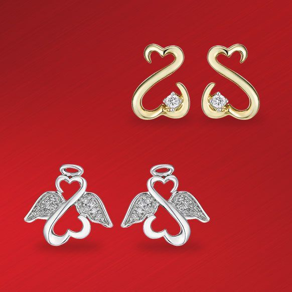 Open Hearts by Jane Seymour Diamond Earrings