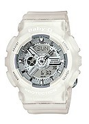 Casio Baby-G Ladies' Silver Dial White Resin Bracelet Watch
