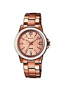 Casio Sheen Ladies' Ceramic Rose Gold-Plated Bracelet Watch