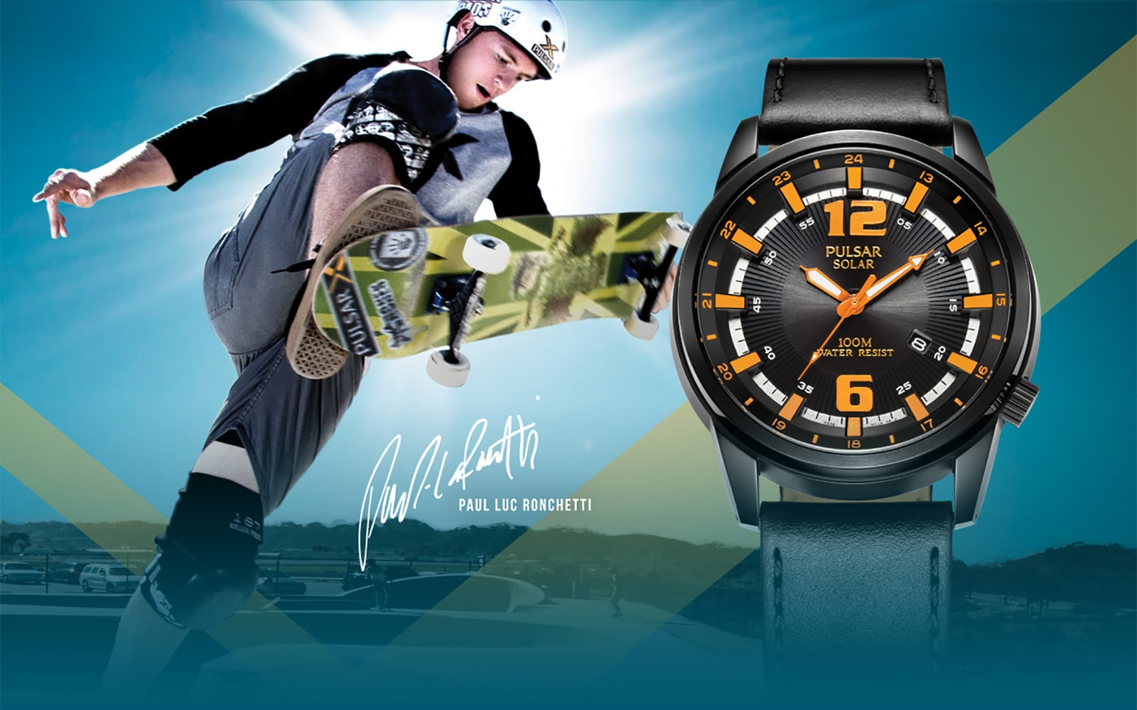 Pulsar-X Solar timepiece adjacent to Paul Luc Ronchetti, skateboarding professional