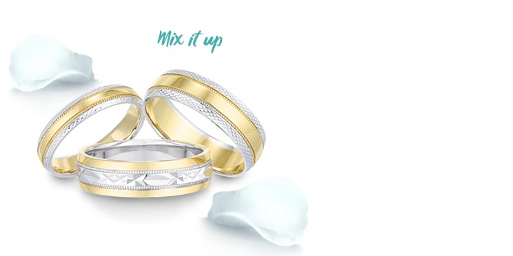 Two Colour Wedding Rings - Shop now